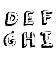 hand drawn sketch letter defghi vector image