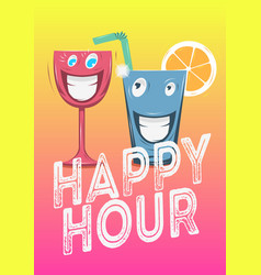 happy hour poster design with funny characters of vector image