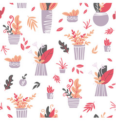 houseplants seamless pattern vector image