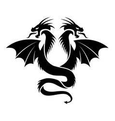 icon of flying two headed dragon vector image