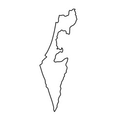 israel map of black contour curves of vector image
