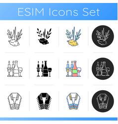 Judaism symbols icons set vector