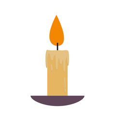 Lighted lit candle with flowing wax plate vector