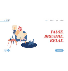 loneliness relaxation website landing page young vector image