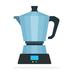 metal coffee maker flat isolated vector image