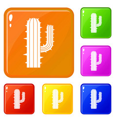 mexican cactus icons set color vector image