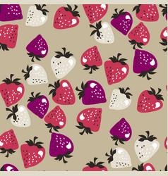 naive pink strawberries seamless pattern vector image