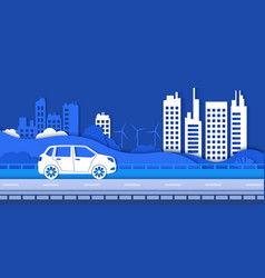 paper eco city road green environment and smart vector image