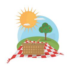 picnic basket tablecloth landscape vector image