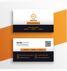 professional orange business card design vector image
