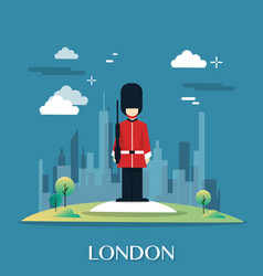 queen guard soldier in london illustration vector image