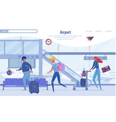 Rushing people at airport design landing page vector