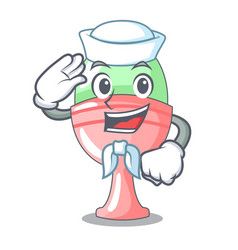 Sailor boiled egg cup isolated on mascot vector