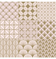 seamless gold and pink geometric pattern vector image