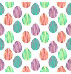 Seamless pattern with hand drawn easter eggs vector