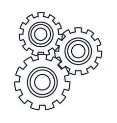 set gears mechanical team work cooperation vector image