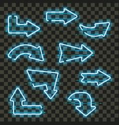 set glowing blue neon arrows vector image