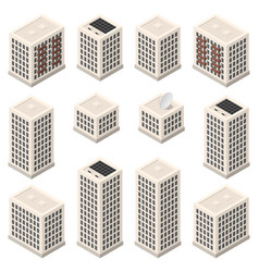 set isometric modern beige buildings vector image