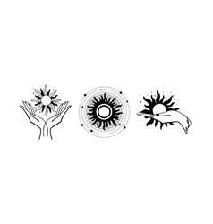 Set mystical logos with sun hand holds vector