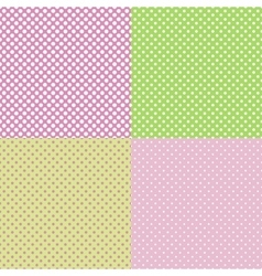 Set of pastel seamless patterns with dots vector
