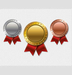 set of realistic 3d champion gold silver and vector image