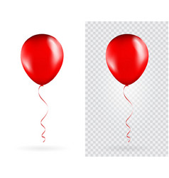 set red balloons on transparent white vector image