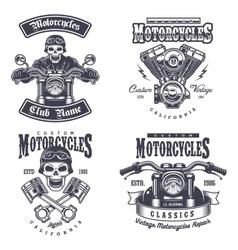 set vintage motorcycle emblems vector image