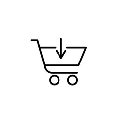 shopping cart with down arrow sign vector image