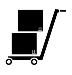 storage cart with boxes vector image