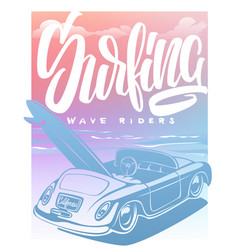 summer surf print with car palm trees and vector image
