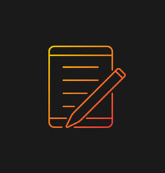 Tablet for school gradient icon for dark theme vector