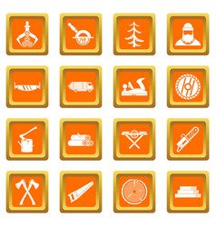 Timber industry icons set orange vector