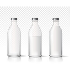 Transparent glass milk bottles dairy products vector
