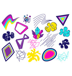 Trendy colorful set of objects for design vector