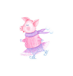 watercolor beauty skating pig in knitted sweater vector image