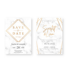 wedding card design with golden frames and marble vector image