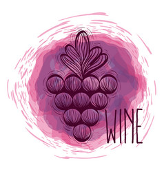 wine grapes doodle round icon vector image