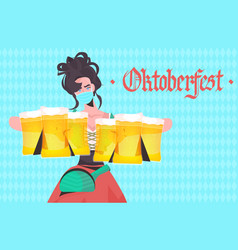 woman holding beer mugs oktoberfest party festival vector image