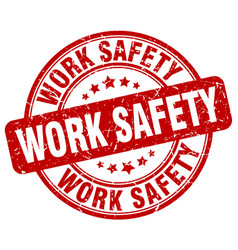 Work safety red grunge stamp vector