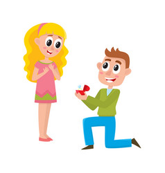 young man proposing to pretty girl vector image