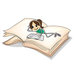 A big book with a young girl reading vector image vector image