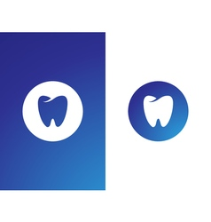 Dentist logo set for company on while blue vector image vector image