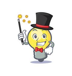 Magician light bulb character cartoon vector