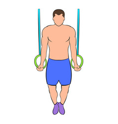 man training on gymnastic rings icon cartoon vector image vector image