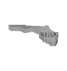 Map of florida with miami icon monochrome style vector
