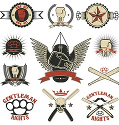 Set of mma boxing street fight emblems and design vector