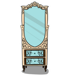 the cabinet is pale pink with brown details and vector image