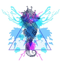 Zentangle stylized Sea Horse in triangle frame vector image