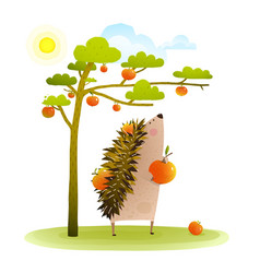farm hedgehog near apple tree harvesting vector image vector image