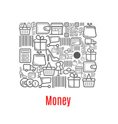 money purse of shopping retail icons vector image